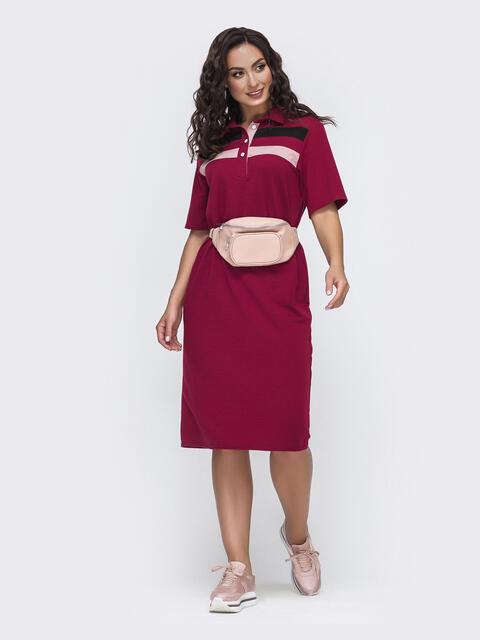 Платье-футболка большого размера бордовое 49977, фото 1