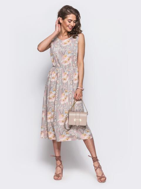 Платье-миди без рукавов с резинкой по талии 11709, фото 1