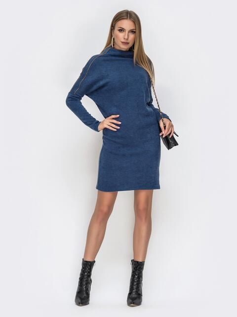 """платье с рукавами """"летучая мышь"""" и воротником-стойкой синее 42272, фото 1"""
