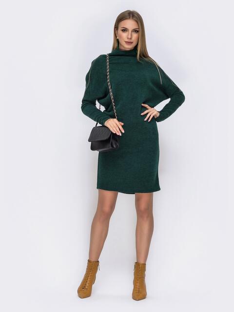 """платье с рукавами """"летучая мышь"""" и воротником-стойкой зелёное 42271, фото 1"""