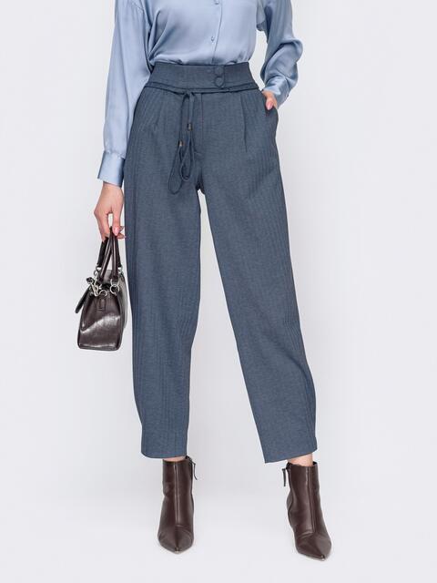 Синие брюки застёгиваются на молнию и пуговицы 52895, фото 1