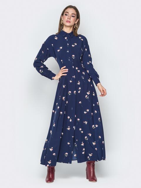 Тёмно-синее платье на пуговицах с отложным воротником - 20103, фото 1 – интернет-магазин Dressa