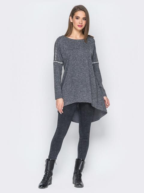 Туника со шлейфом и лампасами серая - 18200, фото 1 – интернет-магазин Dressa