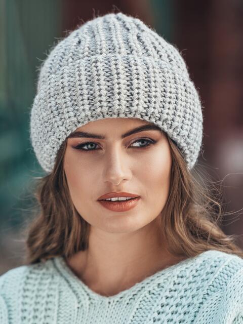 Вязаная шапка утепленная флисом серая - 15618, фото 1 – интернет-магазин Dressa