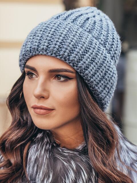 Вязаная шапка утепленная флисом синяя - 15617, фото 1 – интернет-магазин Dressa