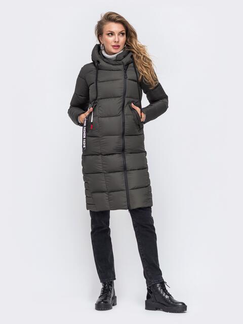 Зимняя куртка с капюшоном хаки 50668, фото 1