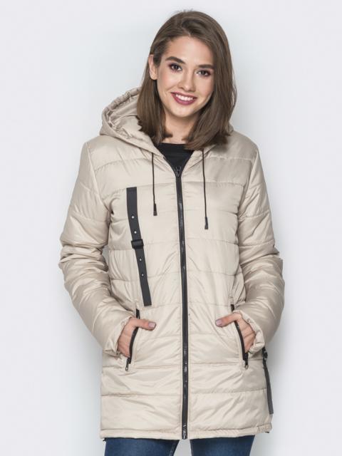 Бежевая куртка с капюшоном и нашивками спереди - 15164, фото 1 – интернет-магазин Dressa