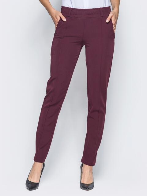 Бордовые брюки с отстроченными стрелками - 15723, фото 1 – интернет-магазин Dressa
