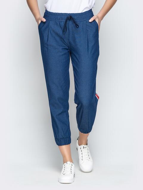Бриджи из синего джинса на резинке по низу и лампасами - 21049, фото 1 – интернет-магазин Dressa
