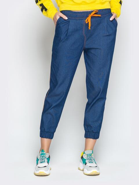 Бриджи из синего джинса на резинке по низу и талии - 21050, фото 1 – интернет-магазин Dressa