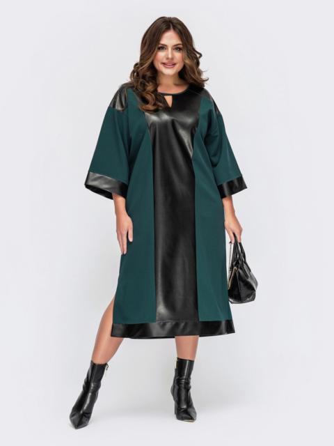 Комбинированное платье батал с разрезами по бокам зеленое 55536, фото 1