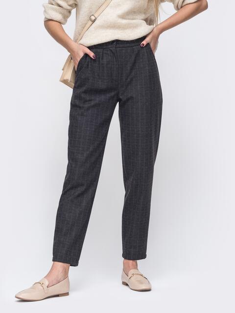 Черные зауженные брюки в клетку с карманами 51716, фото 1