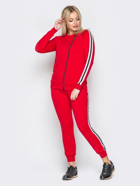 Красный спортивный костюм с кофтой на диагональной молнии - 19713, фото 1 – интернет-магазин Dressa