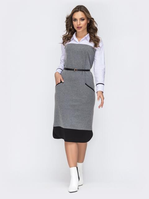 Серое платье в с принтом и контрастной кокеткой 44137, фото 1