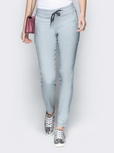 Серые брюки с резинкой по талии и прорезными карманами - 21060, фото 1 – интернет-магазин Dressa