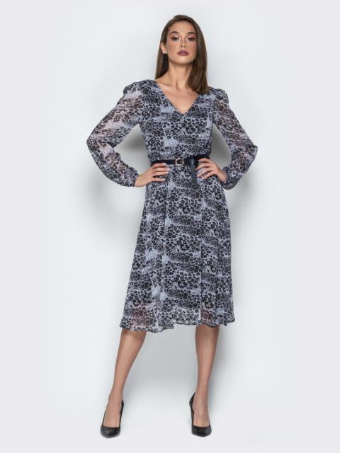 Шифоновое платье с подкладкой и воротником аскот леопардовое - 21005, фото 1 – интернет-магазин Dressa