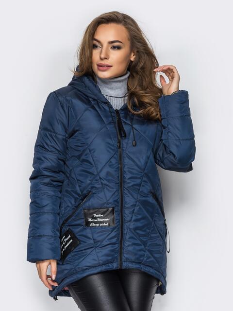 Тёмно-синяя куртка с капюшоном и нашивками спереди - 15163, фото 1 – интернет-магазин Dressa