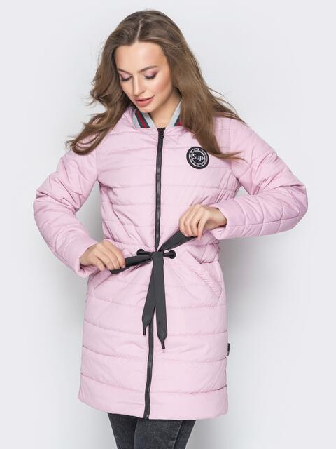 Удлиненная куртка-бомбер с кулиской на талии розовая - 20245, фото 1 – интернет-магазин Dressa
