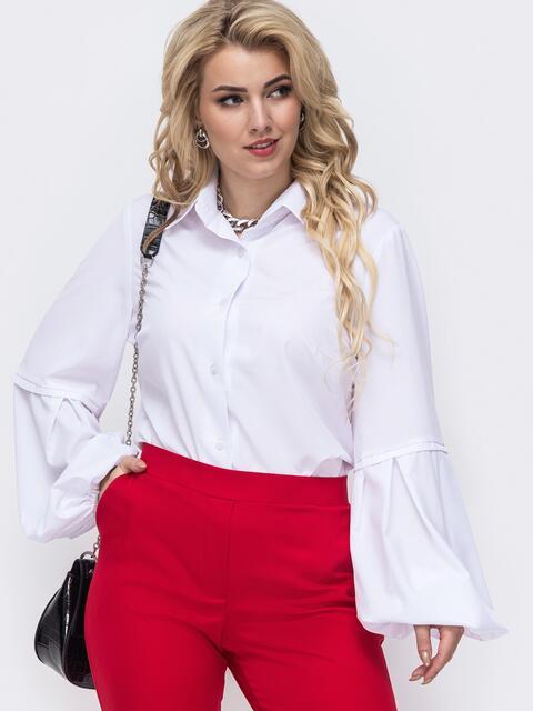 Белая блузка батал из софта с рукавами-буфами 50924, фото 1