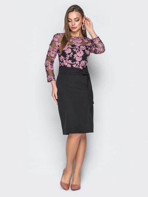 Черное платье отрезное по талии с розовой вышивкой - 19240, фото 1 – интернет-магазин Dressa
