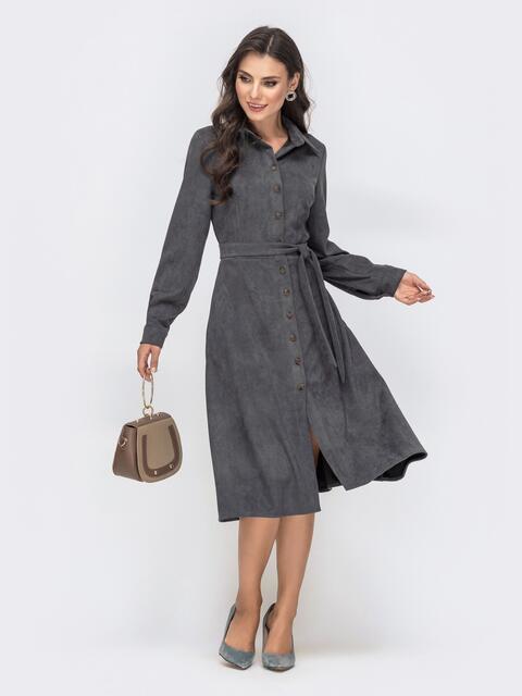 Фактурное платье-рубашка с карманами серое 41545, фото 1