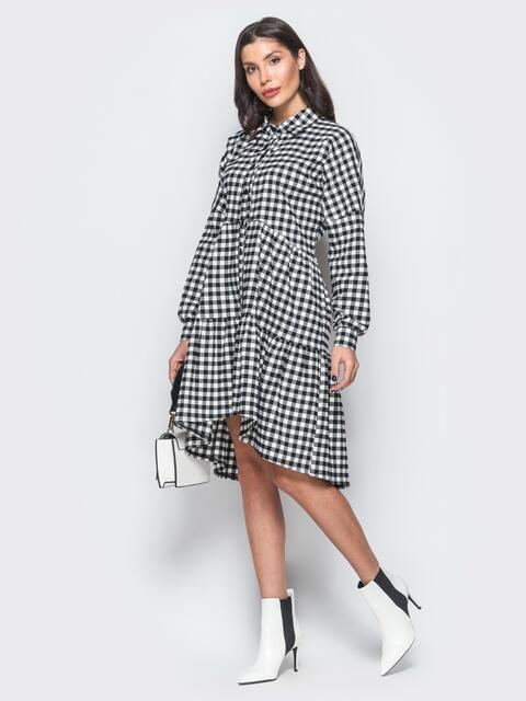 Платье-рубашка в клетку с воланами - 17319, фото 1 – интернет-магазин Dressa
