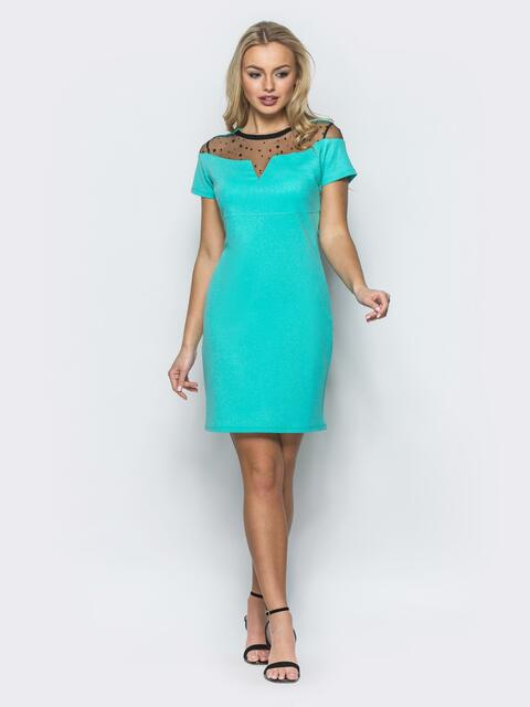 Платье с сеткой в горох бирюзовое - 12457, фото 1 – интернет-магазин Dressa
