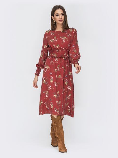 Расклешенное платье с принтом коричневое - 44212, фото 1 – интернет-магазин Dressa