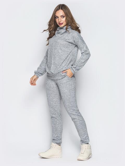Серый комплект из ангоры с брюками на резинке - 18810, фото 1 – интернет-магазин Dressa