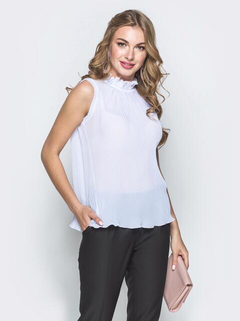 Шифоновая блузка белого цвета с воротником-стойкой - 39499, фото 1 – интернет-магазин Dressa