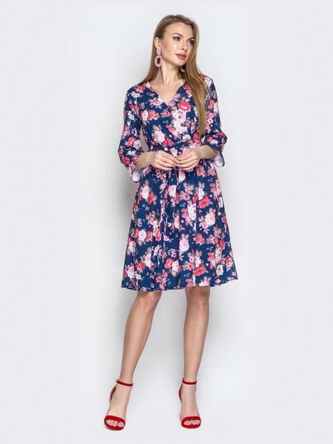 Синее платье с флористическим принтом и юбкой-полусолнце - 20972, фото 1 – интернет-магазин Dressa
