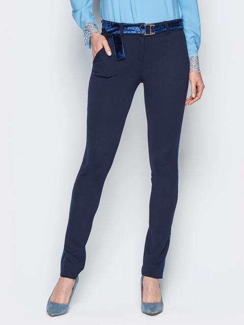 Синие брюки с велюровым поясом и лампасами - 18885, фото 1 – интернет-магазин Dressa