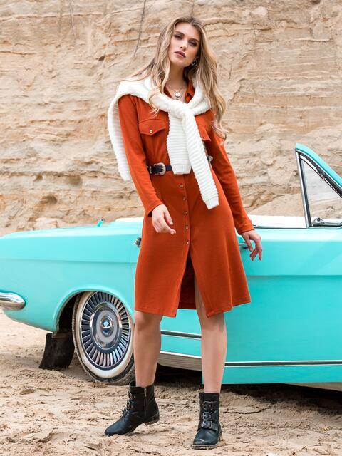 Трикотажное платье-рубашка терракотового цвета - 41548, фото 1 – интернет-магазин Dressa