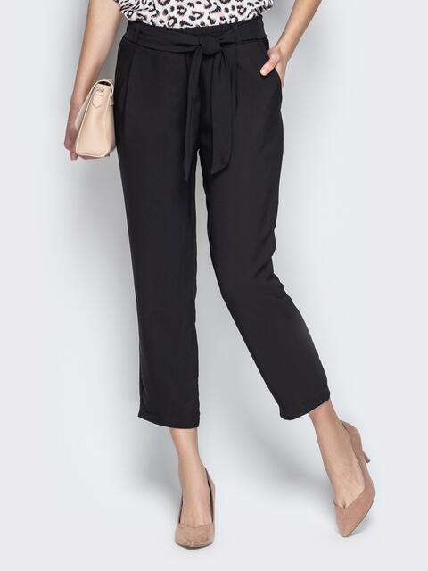 Укороченные брюки чёрного цвета с поясом - 21071, фото 1 – интернет-магазин Dressa