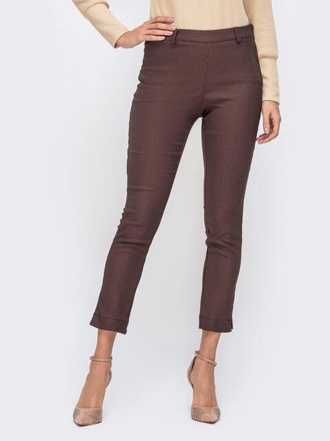"""Укороченные брюки с принтом """"гусиная лапка"""" коричневые - 41540, фото 1 – интернет-магазин Dressa"""