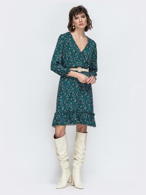 Зеленое платье с принтом и воланом по низу - 45066, фото 1 – интернет-магазин Dressa