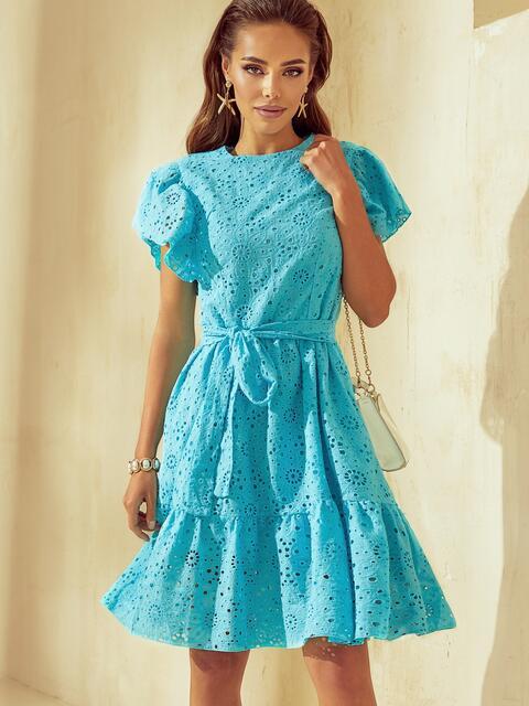 Бирюзовое платье с широким воланом по подолу 53985, фото 1