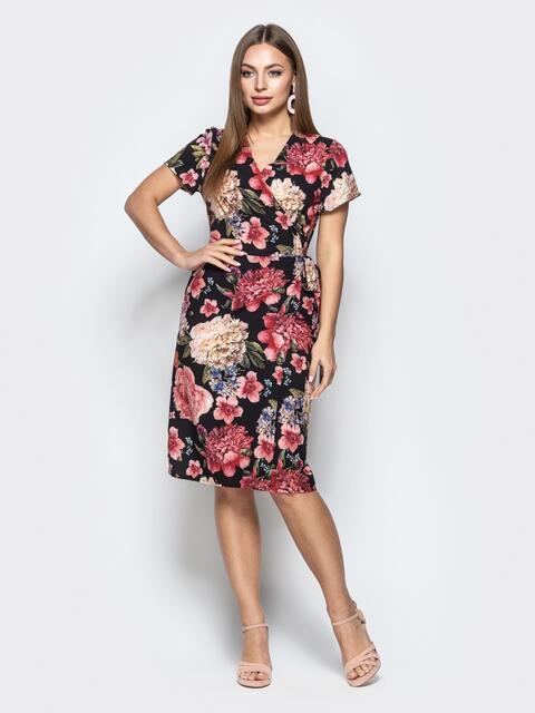 Чёрное платье в цветочном принте на запах с карманами - 21494, фото 1 – интернет-магазин Dressa