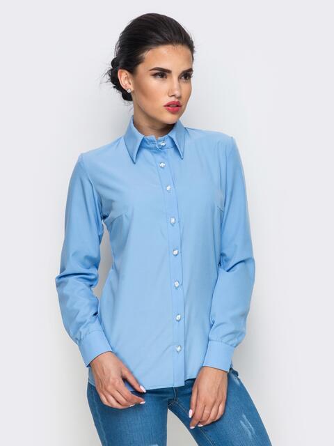 Голубая блузка из крепдешина с длинным рукавом - 12249, фото 1 – интернет-магазин Dressa