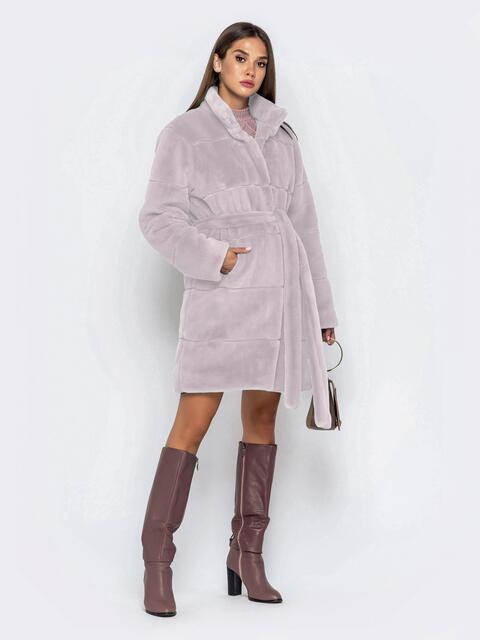 Искусственная шуба пудрового цвета с воротником-стойкой - 43125, фото 1 – интернет-магазин Dressa