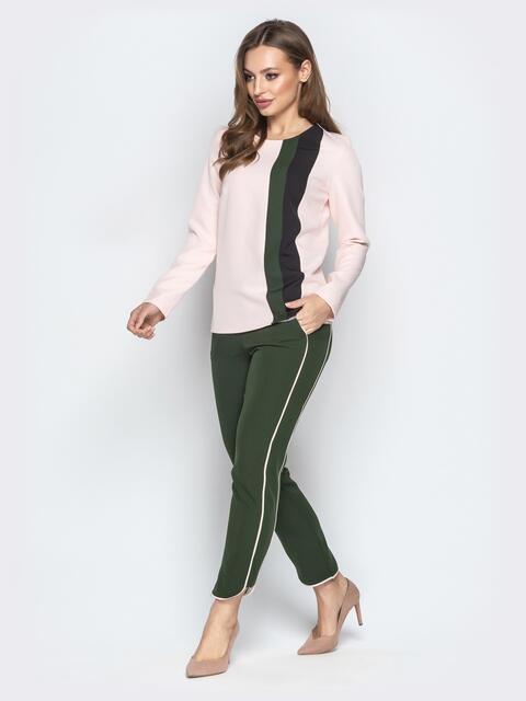 Комплект цвета хаки из кофты и укороченных брюк - 20751, фото 1 – интернет-магазин Dressa