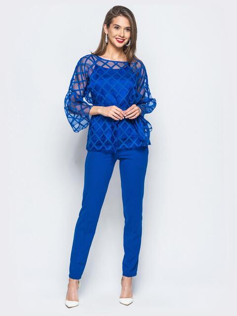 Комплект с блузкой из органзы и топом синий - 17907, фото 1 – интернет-магазин Dressa