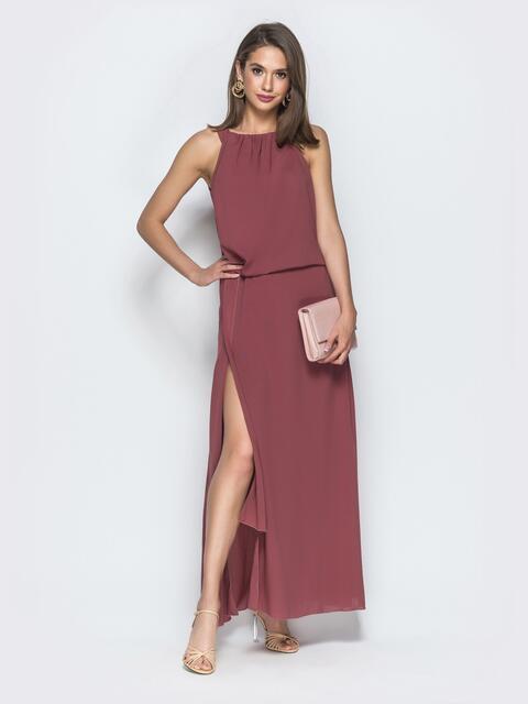 Розовое платье-макси с американской проймой и разрезом - 39078, фото 1 – интернет-магазин Dressa