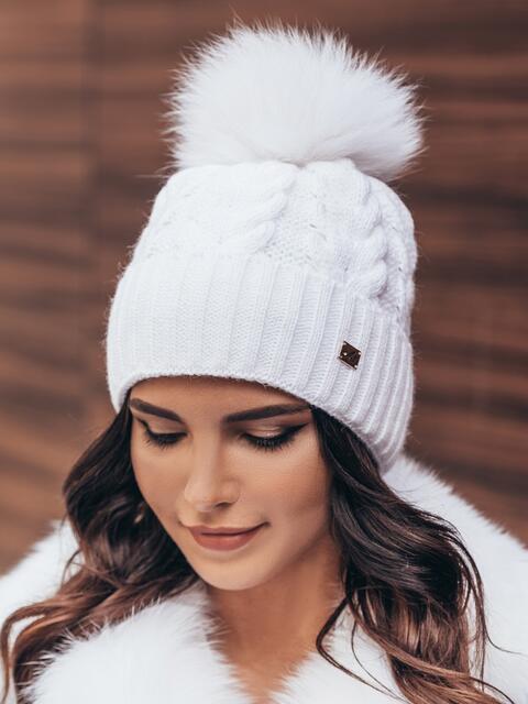 Шапка на флисе с подворотом белая - 14930, фото 1 – интернет-магазин Dressa
