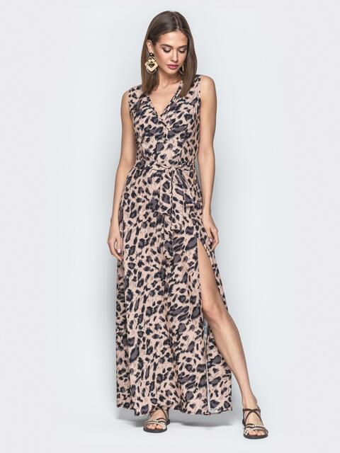 580a04b40bd Бежевое платье-макси с леопардовым принтом и разрезом - 21731