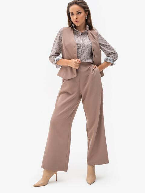 Бежевый костюм из жилета и брюк 51325, фото 1