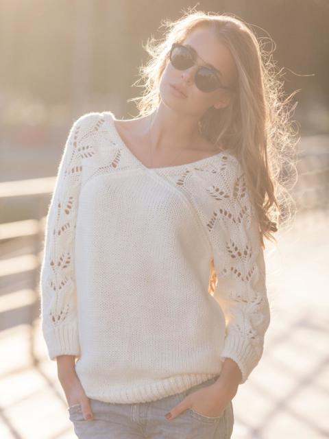 Джемпер с ажурными рукавами белый - 13103, фото 1 – интернет-магазин Dressa