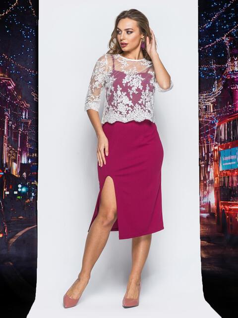 Платье бордового цвета с болеро в комплекте - 18294, фото 1 – интернет-магазин Dressa