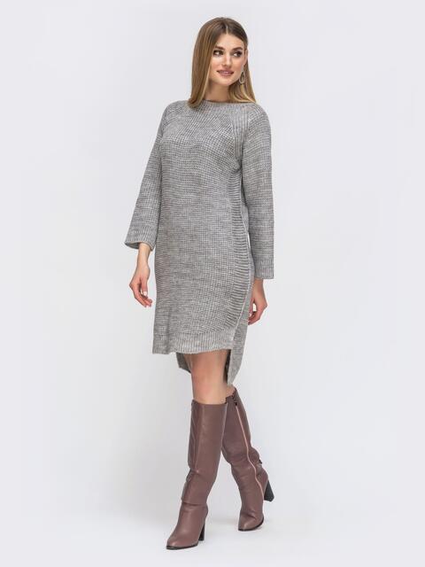 Платье с удлиненной спинкой серое 43126, фото 1