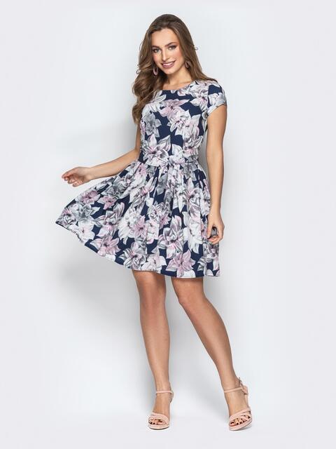 Синее платье с цветочным принтом и юбкой-полусолнце - 21251, фото 1 – интернет-магазин Dressa